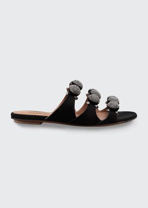 Alaia Metallic Bombe Flat Slide Sandals