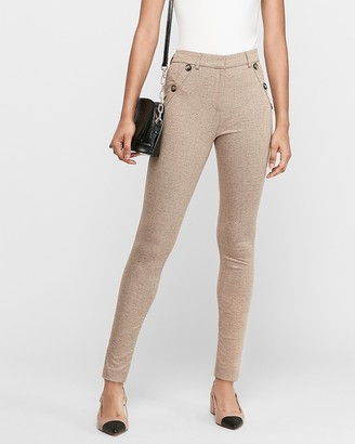 Express High Waisted Textured Button Pocket Skinny Pant