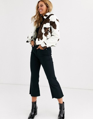 Miss Selfridge trucker jacket in cow print-Brown