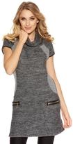 Quiz Grey Light Knit Roll Neck Tunic