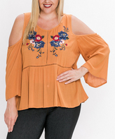 Flying Tomato Mustard Embroidered Bell-Sleeve Cutout Top - Plus