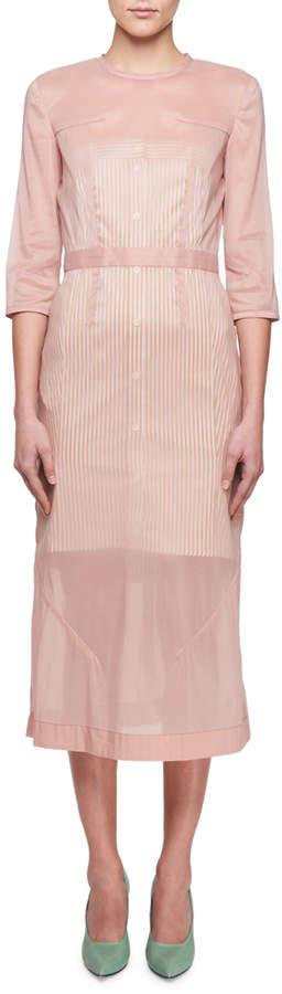 Victoria Beckham 3/4-Sleeve Stretch Organza A-Line Midi Dress
