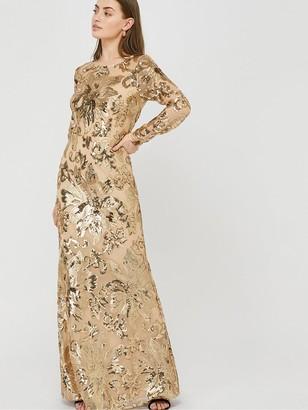 Monsoon Long Sleeve Sequin Maxi Dress - Rose Gold