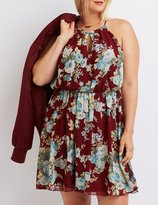 Charlotte Russe Plus Size Floral Bib Neck Keyhole Dress