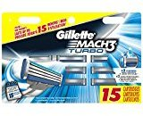 Gillette Mach3 Turbo Men's Razor Blade Refills, 15 Count, Mens Razors / Blades