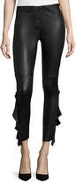 IRO Cardash Lamb Leather Skinny Pants w/ Side Ruffle