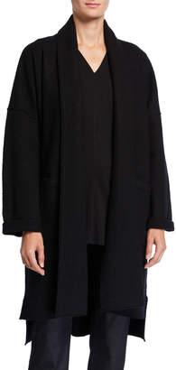 Eileen Fisher Petite Boiled Wool Long Kimono Jacket