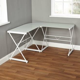 Latitude Run Rikwin Glass L-Shape Desk Color: Frosted White Glass/White