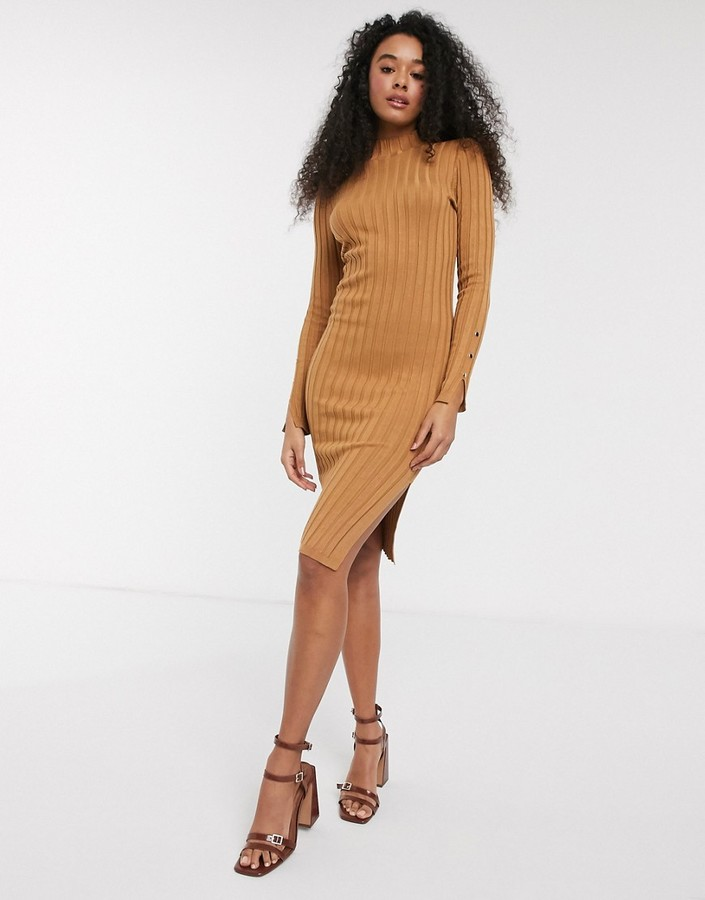 Pimkie ribbed midi dress in camel