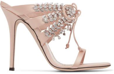 Giuseppe Zanotti Madelyn Crystal-embellished Satin Mules - Blush