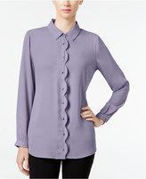 NY Collection Petite Scalloped Shirt