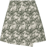Tory Burch Juliana wrap-effect printed cotton-blend twill mini skirt