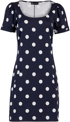 New York & Co. Dot-Print Puff-Sleeve Cotton Shift Dress
