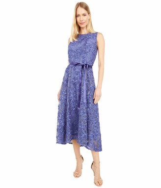 Tahari ASL Women's Sleeveless Lace Embroidered High Low Party Dress