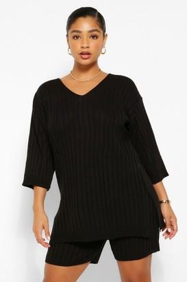 boohoo Plus Side Split Knitted Co-Ord