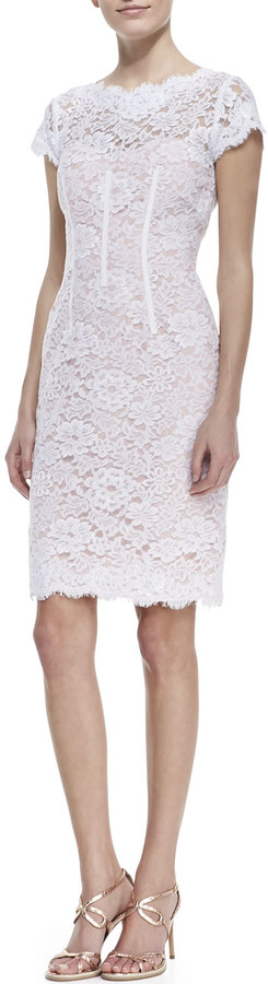 Monique Lhuillier ML Cap-Sleeve Lace Sheath Cocktail Dress, White/Petal