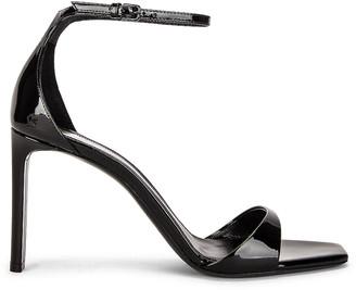 Saint Laurent Bea Satin Sandals in Noir | FWRD