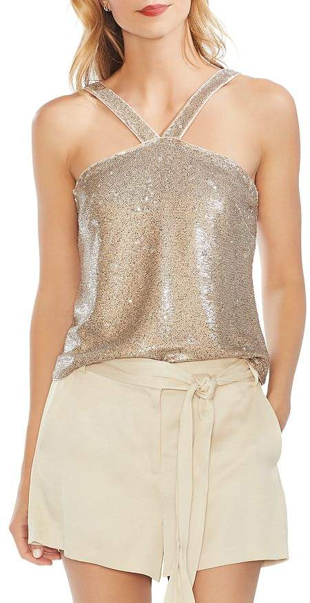 Vince Camuto Two-Tone Sequined Top