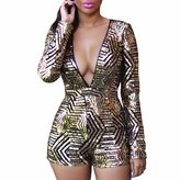 WINSON Sexy Women Deep V Neck Long Sleeve Jumpsuits Sequins Playsuit Summer Rompers