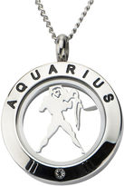 JCPenney FINE JEWELRY Aquarius Zodiac Cubic Zirconia Stainless Steel Locket Pendant Necklace