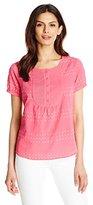 Caribbean Joe Women's Clip Dot Shirting Scoop Neck Pintucked Bib Dot Shirt