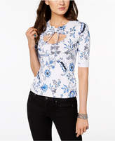 GUESS Keyhole Lace-Up Top