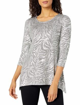Ruby Rd. Women's Embellished Zebra Stripe Printed Foil Jersey Top