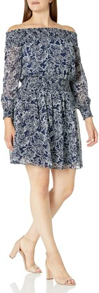 Ronni Nicole Women's Long Sleeve Smocked Printed Chiffon Dress