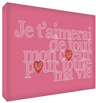 story. Feel Good Art I'll Love You with All My Heart for My Whole Life Acrylic Decorative Block 21 x 14 x 2 cm Antique Pink