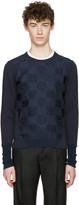 Alexander McQueen Navy Skull Check Pullover