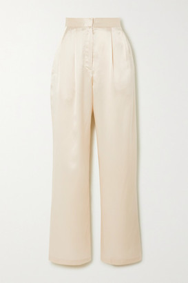 Reformation + Net Sustain Chandler Silk-charmeuse Wide-leg Pants - Ivory
