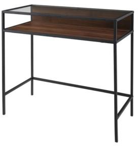 Walker Edison 35 inch Metal and Wood Compact Desk wtih Glass in Dark Walnut