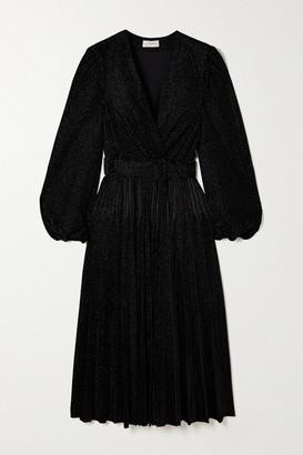 Rebecca Vallance Viper Belted Metallic Velvet Midi Dress - Black