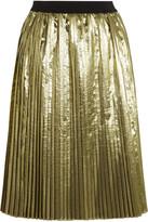 RED Valentino Pleated lamé midi skirt