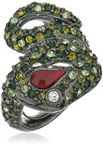 Kenneth Jay Lane Gunmetal and Multi-Green Snake Ring