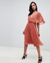 Asos Design DESIGN flutter sleeve midi dress with pleat skirt