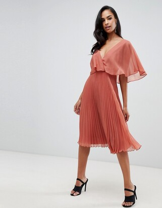 Asos Design DESIGN flutter sleeve midi dress with pleat skirt-Brown