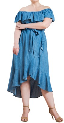 Flying Tomato Off the Shoulder Chambray Midi Dress (Plus Size)