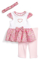 Little Me Dress, Leggings & Headband Set (Baby Girls)