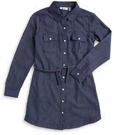 Dex Belted Long-Sleeve Denim Shirt Dress