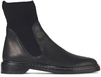 The Row Fara Ribbed-knit And Leather Ankle Boots