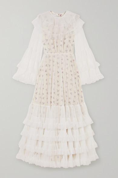 Giambattista Valli Layered Tiered Tulle And Floral-print Silk Maxi Dress - Ivory