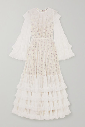 Giambattista Valli Layered Tiered Tulle And Floral-print Silk Maxi Dress - Ivory