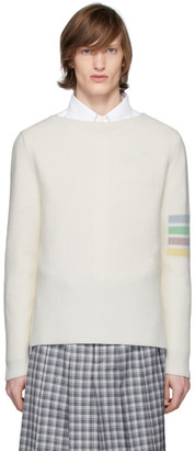 Thom Browne Off-White Intarsia 4-Bar Sweater