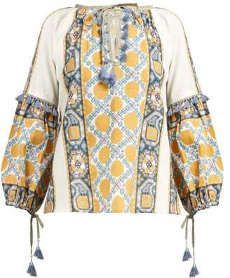 D'Ascoli Samarkand Printed-cotton Blouse - Womens - Yellow Multi