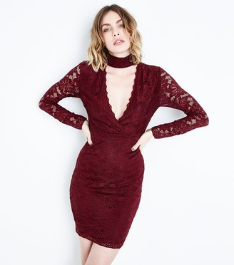 New Look AX Paris Burgundy Lace Choker Neck Dress