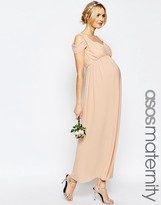 Asos WEDDING Drape Cold Shoulder Maxi Dress