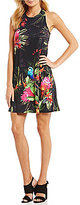CeCe Twist Back Jungle Parakeet Print Shift Dress