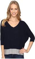 Mod-o-doc Fully Fashion Sweater V-Neck Waffle Stitch Sweater