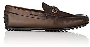 Tod's MEN'S BIT-DETAIL BURNISHED LEATHER DRIVERS - MED. BROWN SIZE 6 M